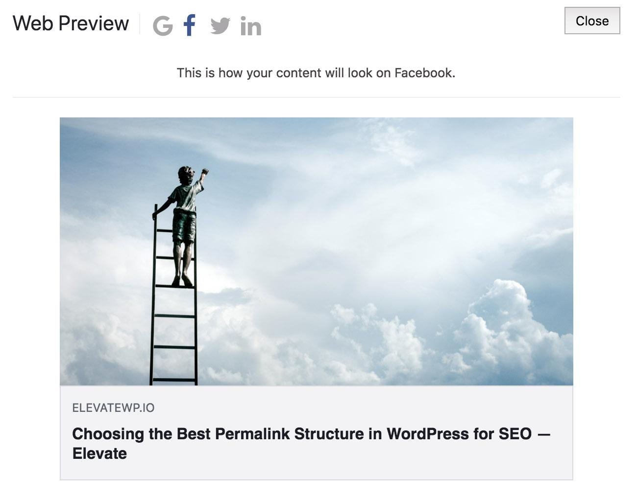 Elevate SEO plugin for WordPress, Social media preview functionality