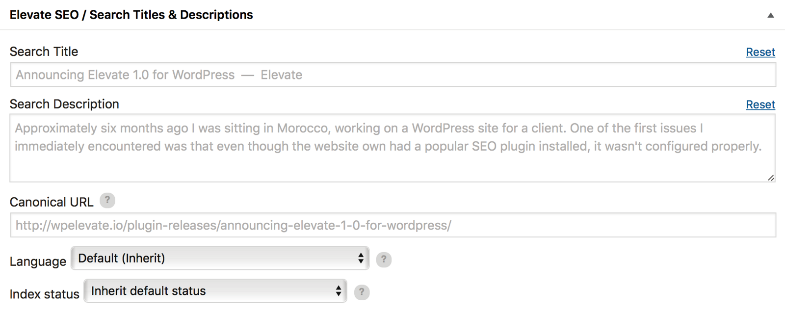 Elevate SEO plugin for WordPress, Configuration Wizard