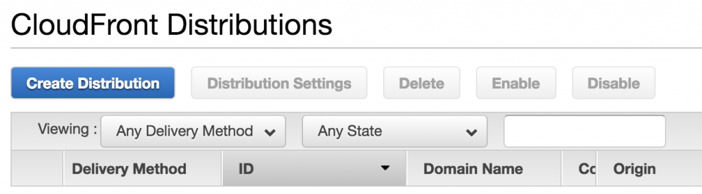 Creating a distribution on CloudFront