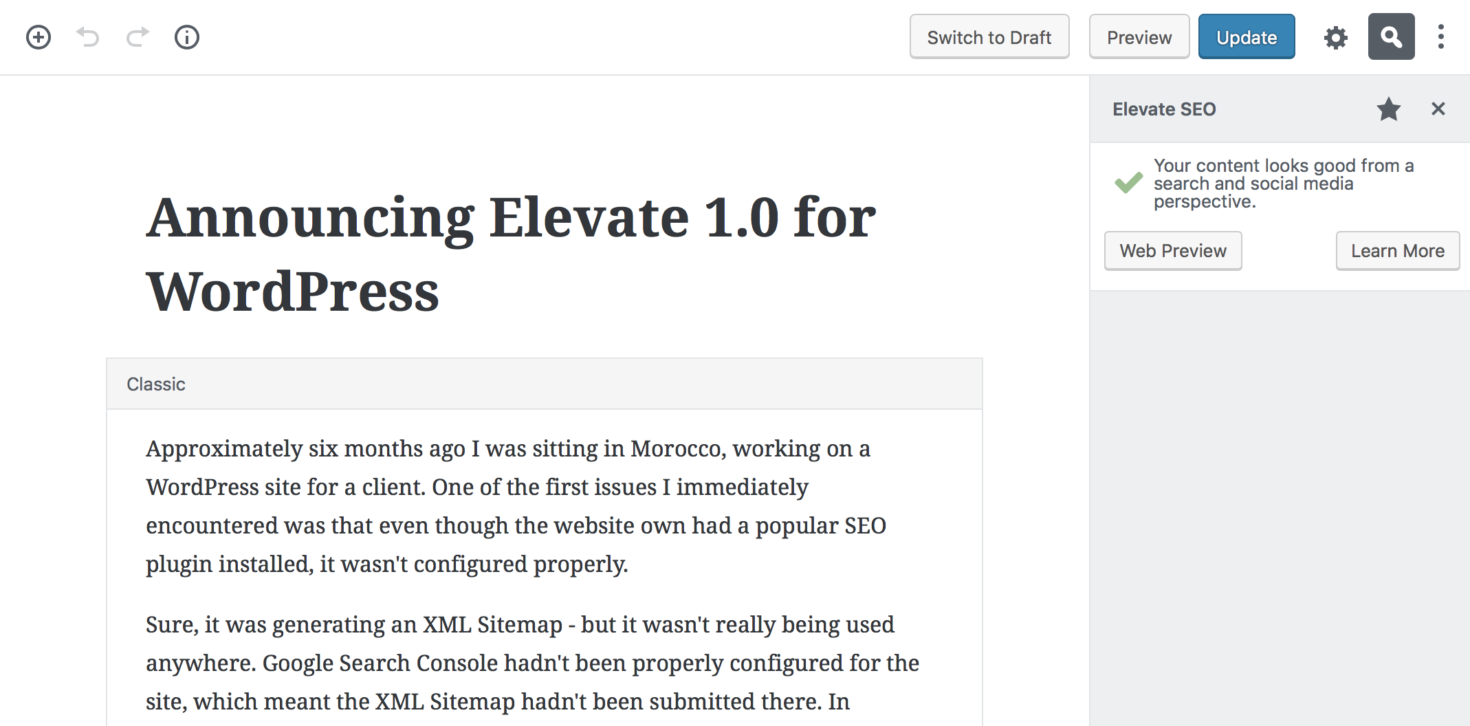Elevate now supports the Gutenberg editor