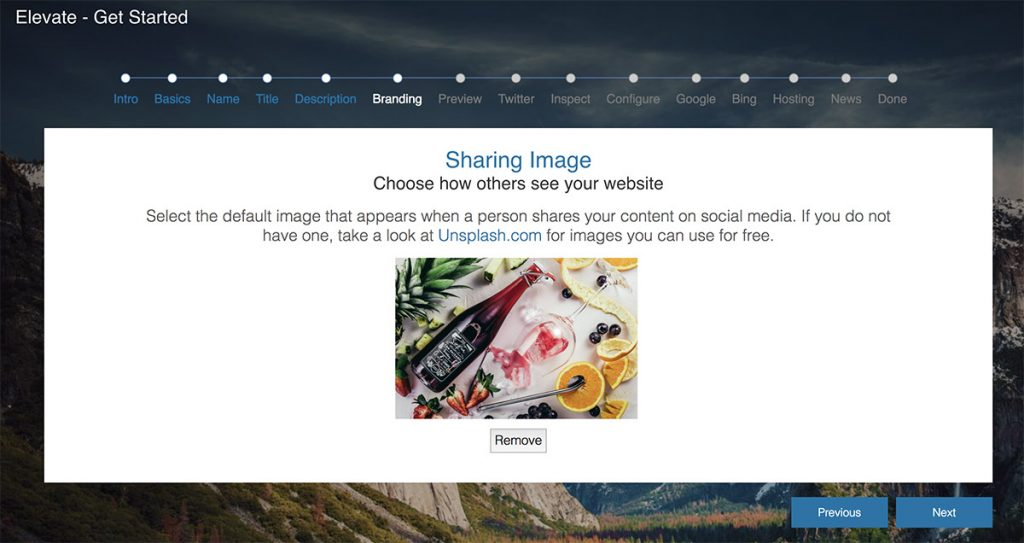 Choosing a site wide image to use for your website